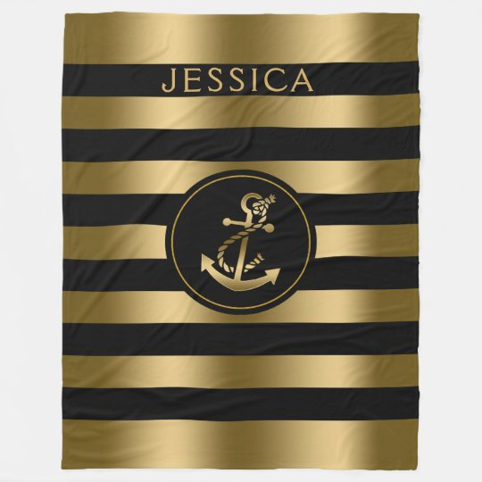 Gold & Black Stripes With Gold Nautical Anchor