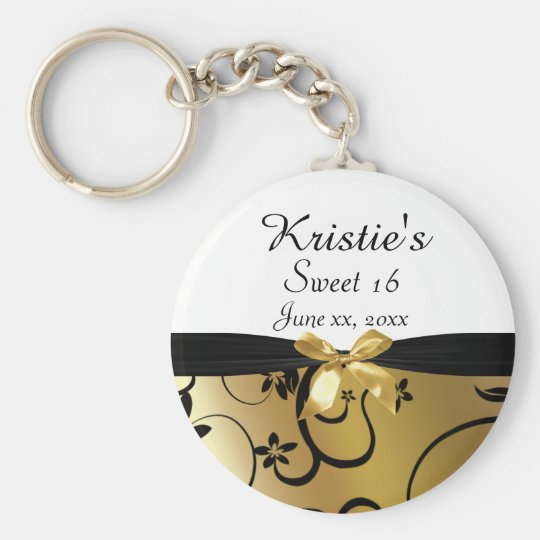 Gold & Black, Sweet Sixteen, Custom, Party Favour Basic Round Button Key Ring