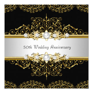 Gold Black Swirl 50th Wedding Anniversary Invite