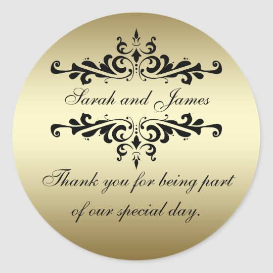 Gold Black Swirls Thank You Wedding Favour Classic