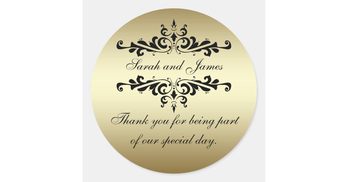 Gold black swirls thank you wedding favour classic round sticker zazzle co uk