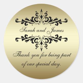 Gold Black Swirls Thank You Wedding Favour Sticker