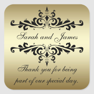 Gold Black Swirls Thank You Wedding Stickers