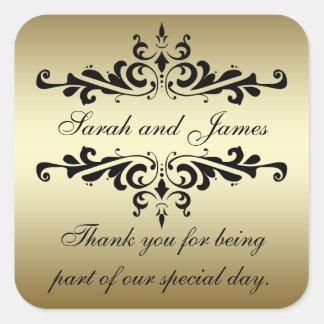 Gold Black Swirls Thank You Wedding Stickers