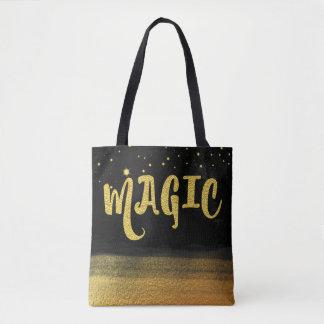 *~* Gold & Black Trendy Magical Good Vibes Tote Bag