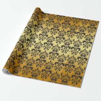 black and gold wrapping paper black and gold gift wrap designs zazzle. Black Bedroom Furniture Sets. Home Design Ideas