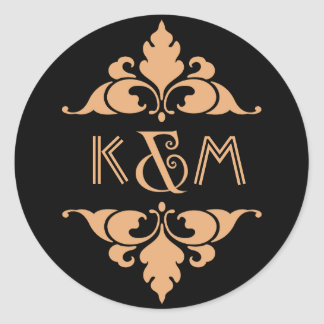 Gold Black Vintage Modern Art Deco Wedding Round Sticker