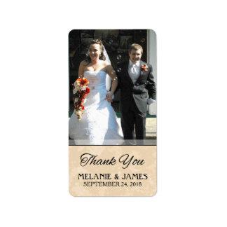Gold & Black Wedding Custom Photo Thank You Label