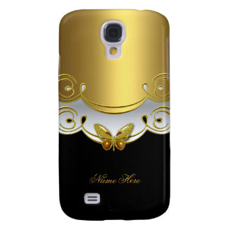 Gold Black White Butterfly Galaxy S4 Case