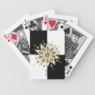 Gold Black & White Circle Mandala Bicycle Playing Cards