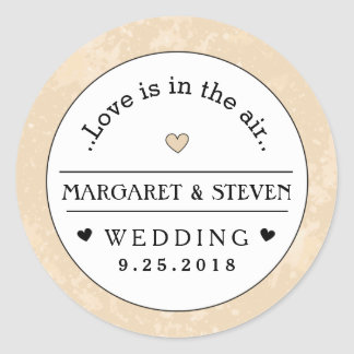 Gold Black & White Heart Wedding Custom Names Love Round Sticker