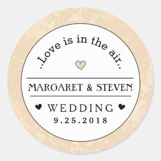 Gold Black & White Heart Wedding Custom Names Love Round Sticker