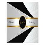 Gold Black White Invite 50th Birthday Party
