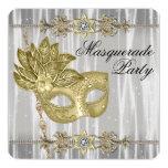 Gold Black White Masquerade Party 13 Cm X 13 Cm Square Invitation Card