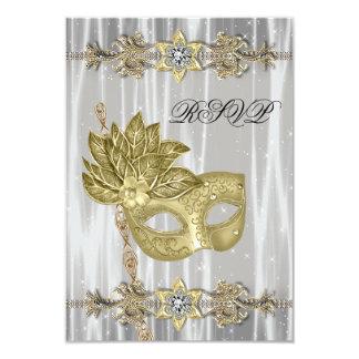 Gold Black White Masquerade Party RSVP 9 Cm X 13 Cm Invitation Card
