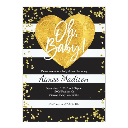 Gold black white striped baby shower invitation