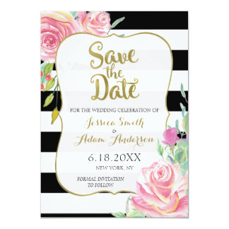 Gold, Black & White Stripes Floral Save the Date Card