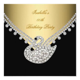 Gold Black White Swan Elegant Birthday Party 13 Cm X 13 Cm Square Invitation Card