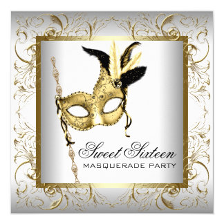 Gold Black White Sweet Sixteen Masquerade Party Card