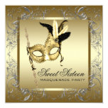 Gold Black White Sweet Sixteen Masquerade Party Personalised Announcements