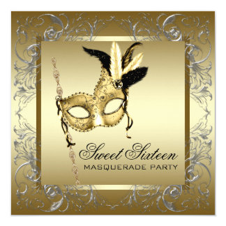 Gold Black White Sweet Sixteen Masquerade Party Invite