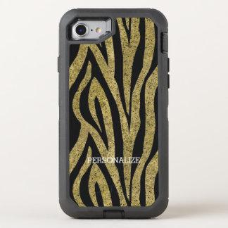 Gold Black Zebra Stripes OtterBox Defender iPhone 7 Case
