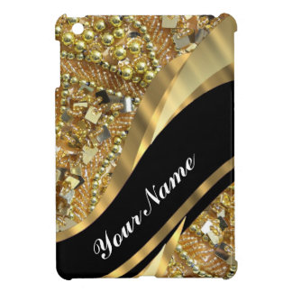 Gold bling & black swirl pattern iPad mini case