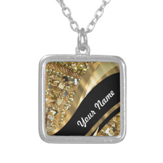 Gold bling & black swirl pattern silver plated necklace