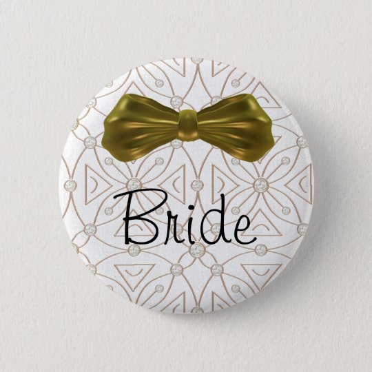 Gold Bling Bride Button Pin