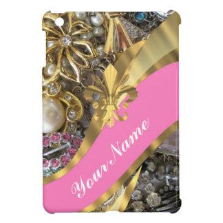 Gold bling fleur de lys case for the iPad mini
