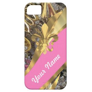 Gold bling fleur de lys iPhone 5 case