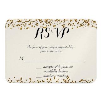Gold Bling Glitter Confetti RSVP 9 Cm X 13 Cm Invitation Card