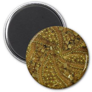 Gold bling glitter & pearls 6 cm round magnet
