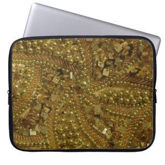 Gold bling glitter & pearls laptop sleeve