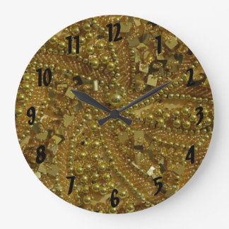 Gold bling glitter & pearls large clock