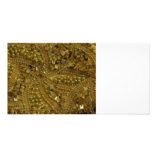Gold bling glitter & pearls customized photo card