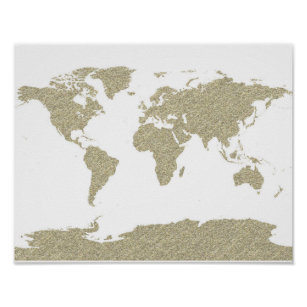 Gold world map art posters framed artwork zazzle gold bling glitter world map abstract art poster gumiabroncs Gallery