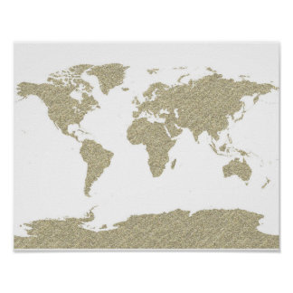 gold bling glitter world map abstract art poster
