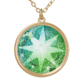 Gold Bling Green Compass Gemstone Rhinestone Look Gold Plated Necklace