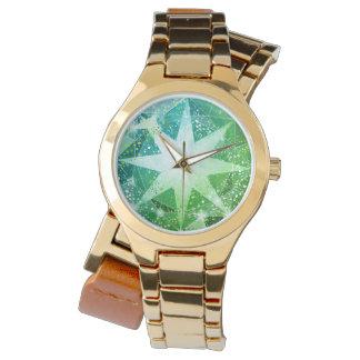 Gold Bling Green Compass Gemstone Rhinestone Look Watch