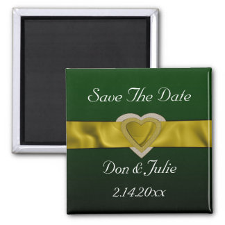 Gold Bling Hearts Save The Date Fridge Magnet