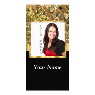 Gold bling instagram templates customized photo card