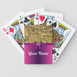 Gold bling & magenta bicycle playing cards