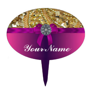 Gold bling & magenta cake toppers