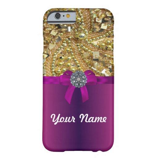 Gold bling & magenta iPhone 6 case