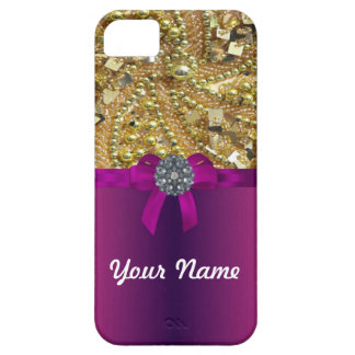 Gold bling & magenta iPhone 5 cover