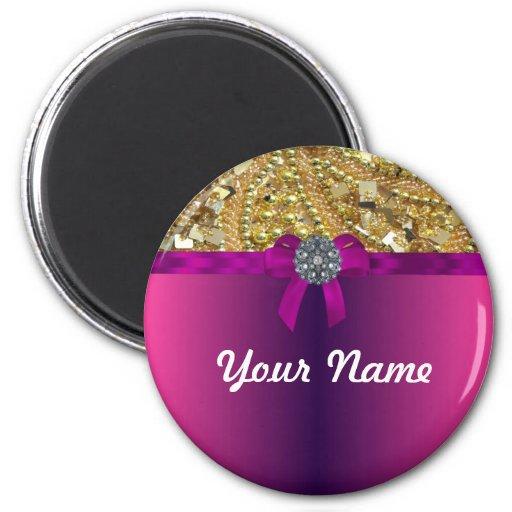 Gold bling & magenta magnets