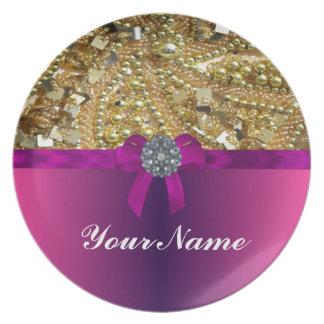 Gold bling & magenta plate