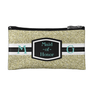 Gold Bling Maid-of-Honor Gift Cosmetic Bags