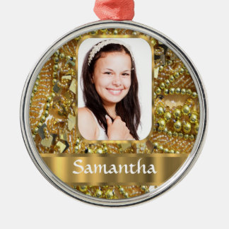 Gold bling photo background christmas ornament